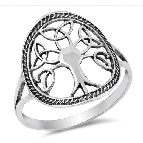 Celtic Tree of Life Band Ring 925 Sterling Silver Simple Plain Tree of Life Choose Color