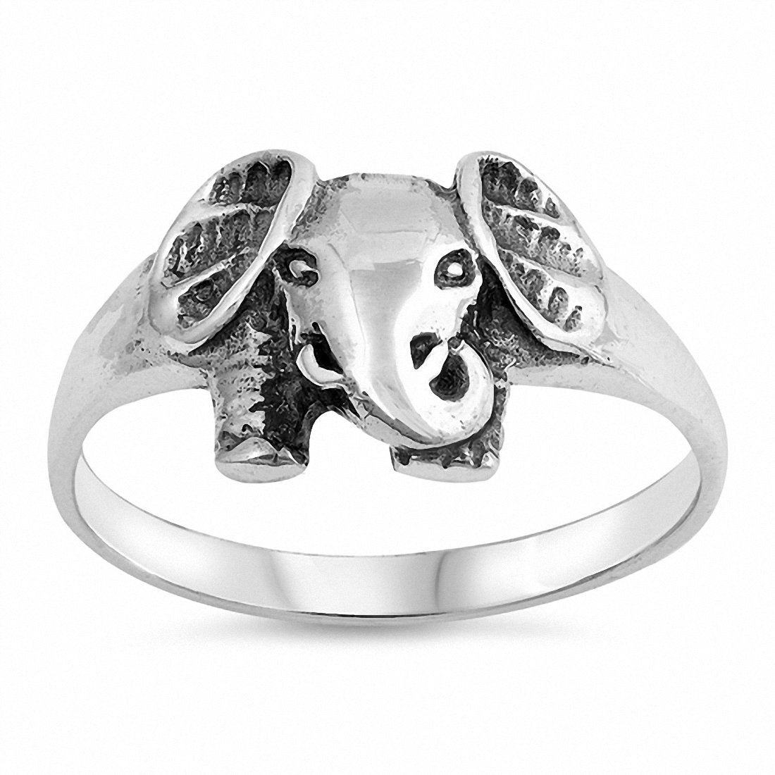 Lucky Elephant Band Ring 925 Sterling Silver Choose Color