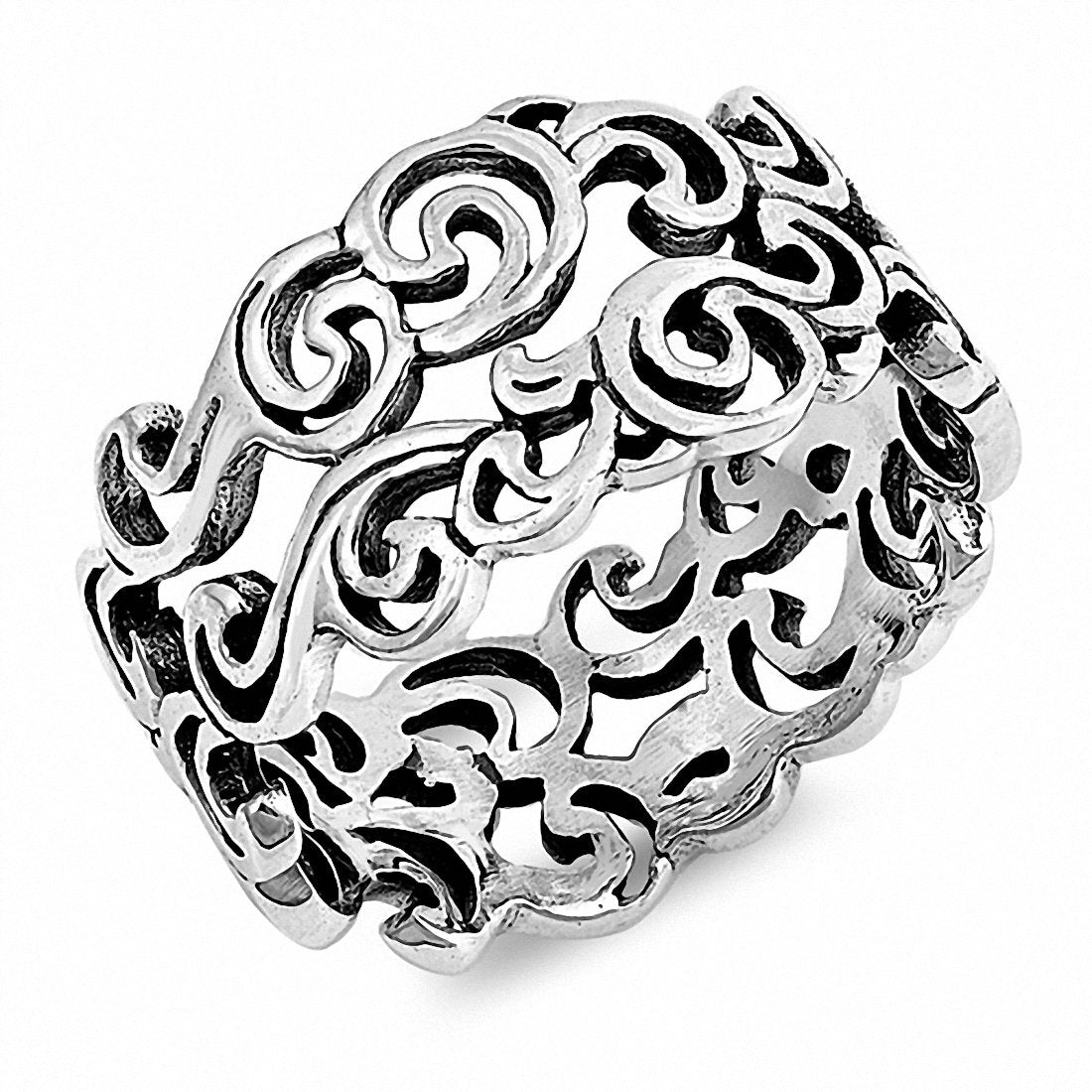 9mm Filigree Band Ring 925 Sterling Silver Choose Color