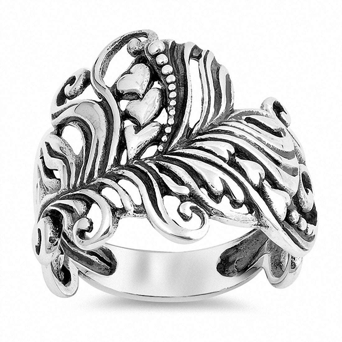 Heart Filigree Ring Band 925 Sterling Silver Choose Color