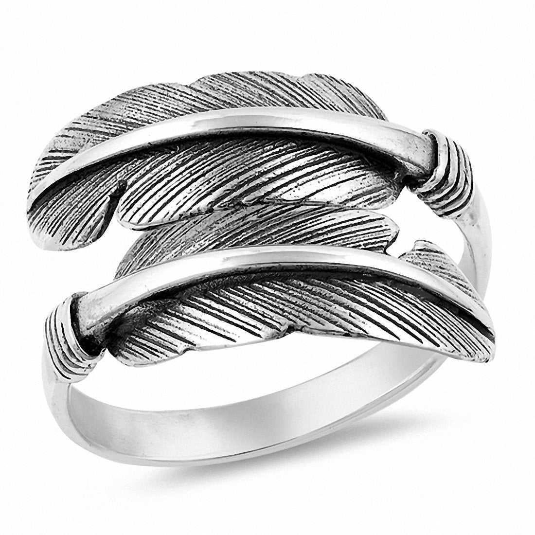 Feather Band Ring Simple Plain 925 Sterling Silver Choose Color