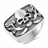 Oxidized Design Skull Band Ring 925 Sterling Silver Choose Color