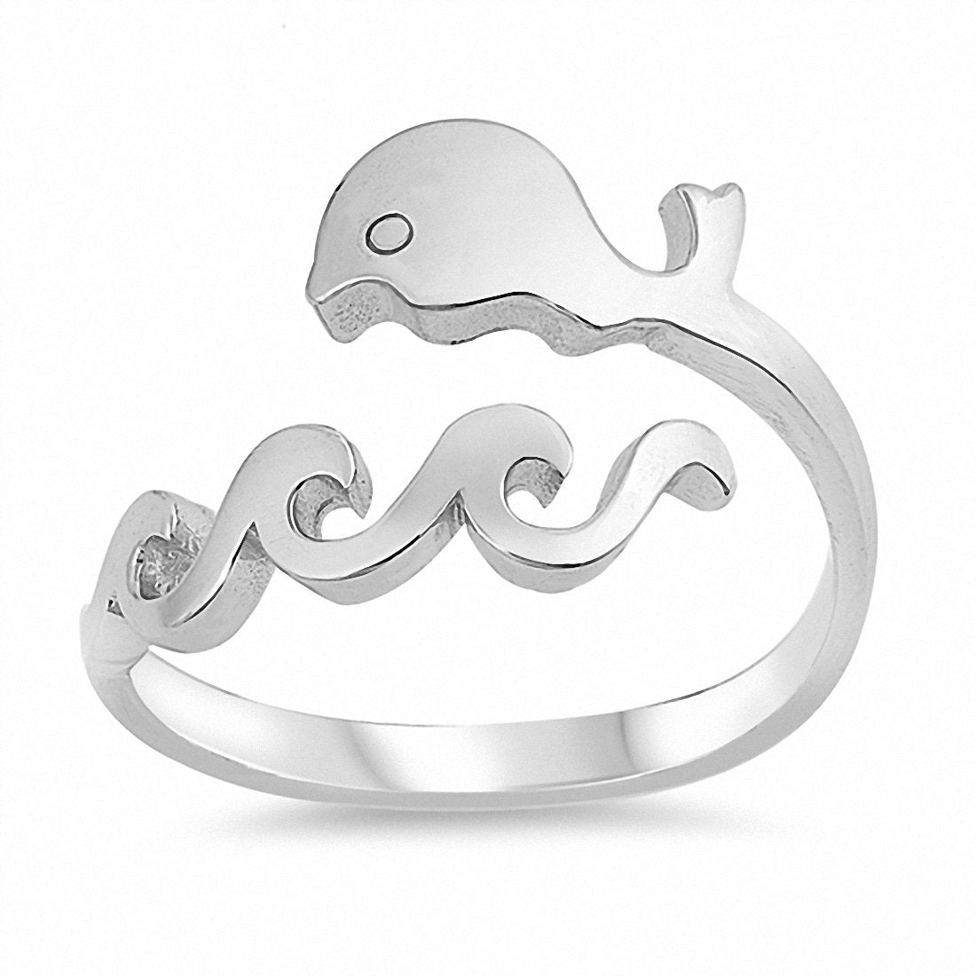 Wave and Whale Ring Band 925 Sterling Silver Choose Color