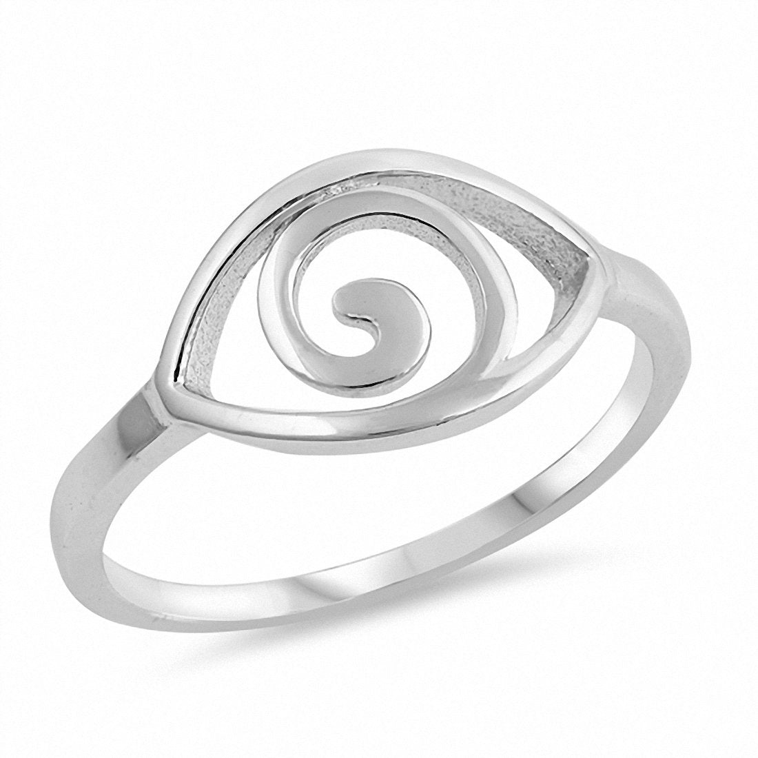 Spiral Eye Ring Band 925 Sterling Silver Choose Color