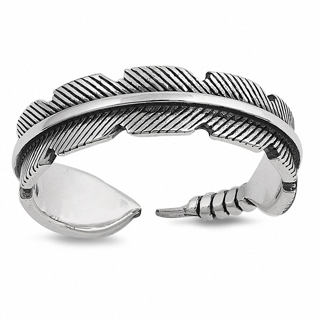 Feather Band Ring 925 Sterling Silver Choose Color