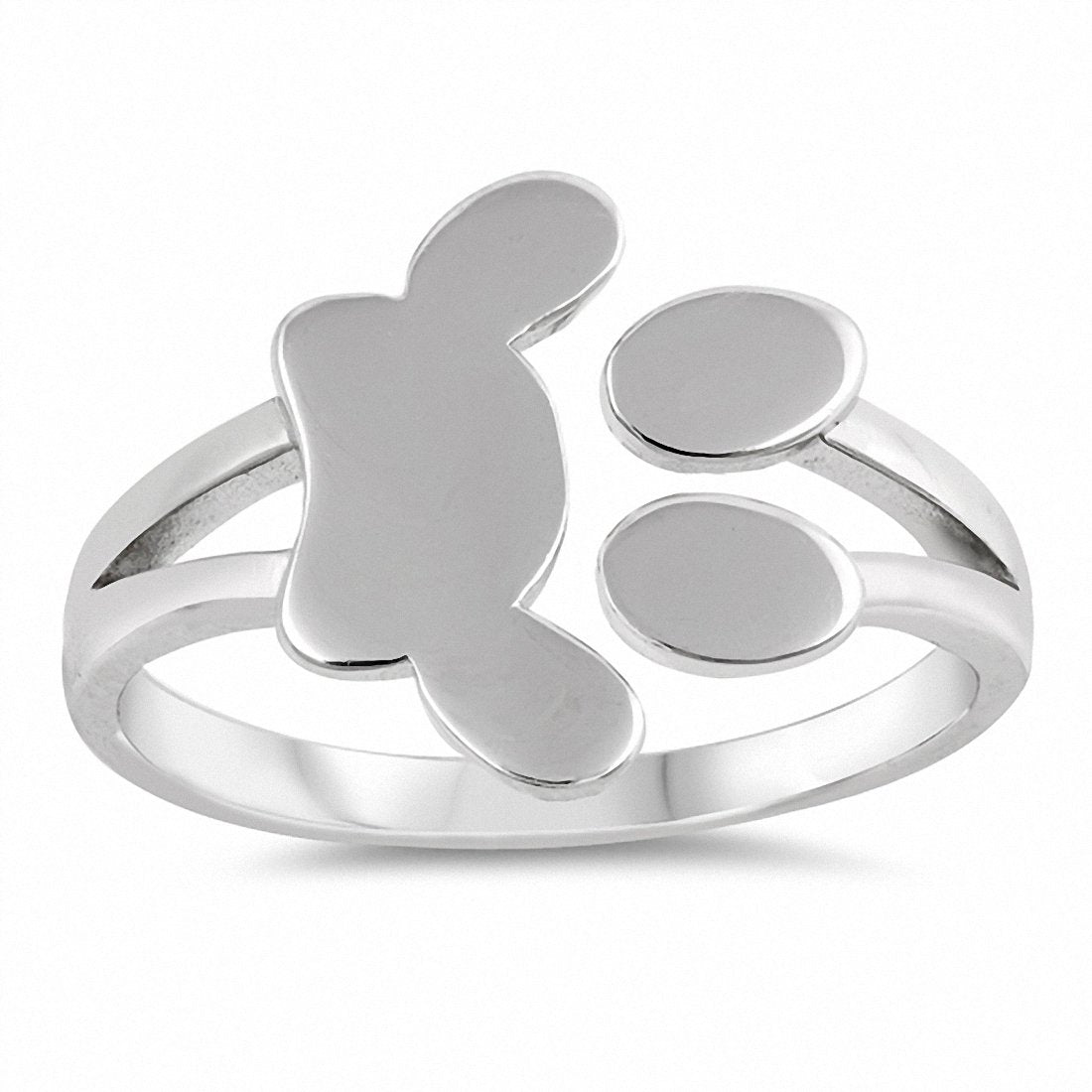 Paw Print Band Ring 925 Sterling Silver Choose Color
