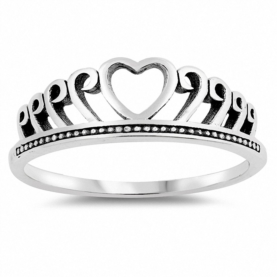 Plain Heart Ring Band 925 Sterling Silver Choose Color