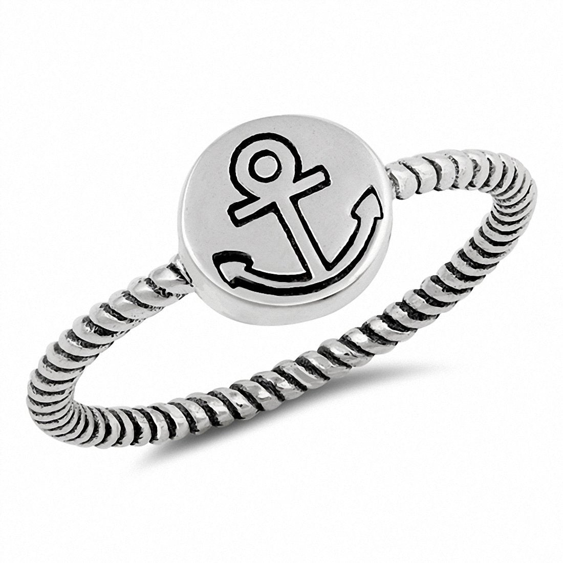 Twisted Anchor Band Ring Braided 925 Sterling Silver Choose Color