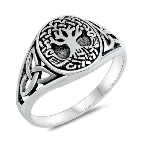 Oval Celtic Tree of Life Band Ring 925 Sterling Silver Choose Color