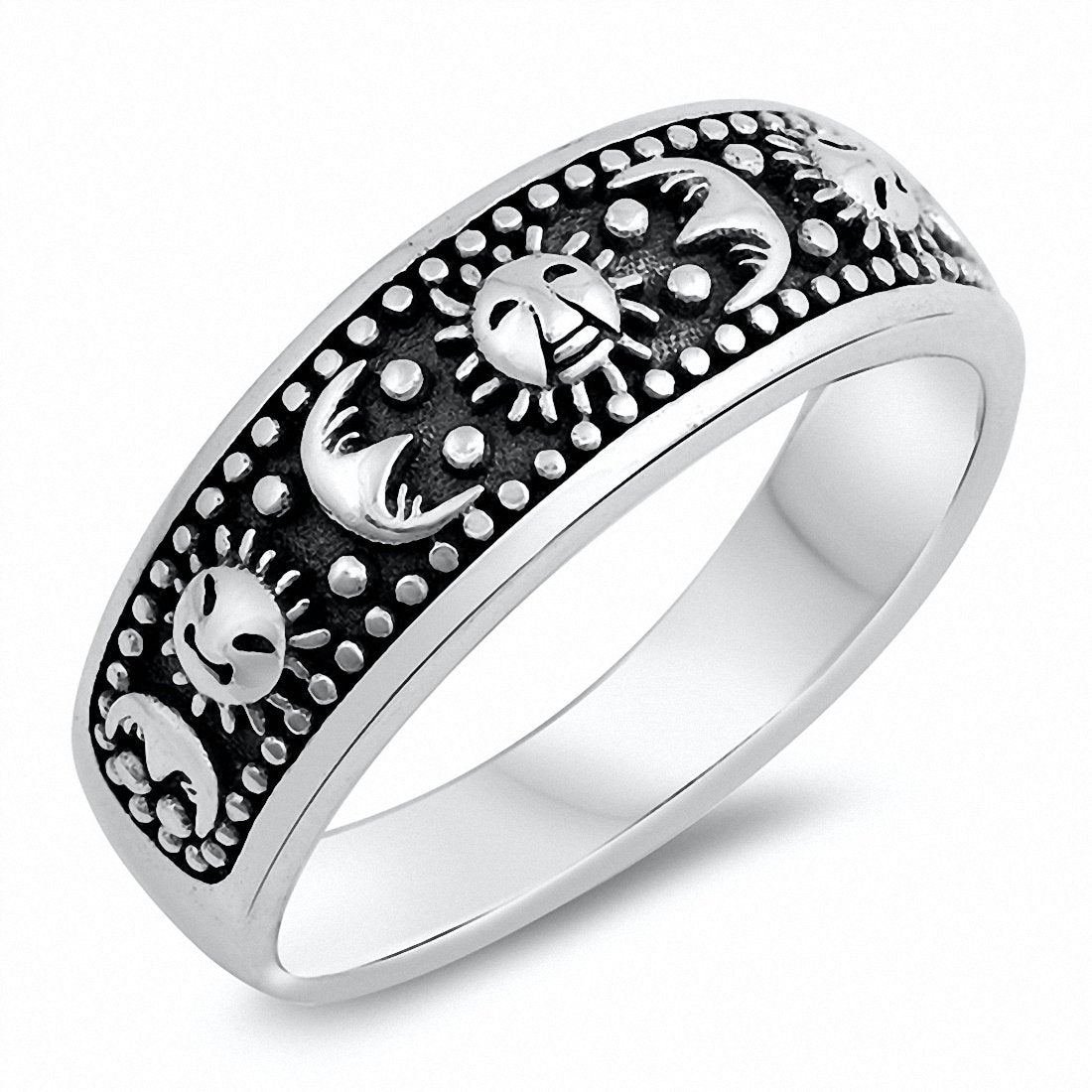 Moon Sun Ring Band 925 Sterling Silver Choose Color