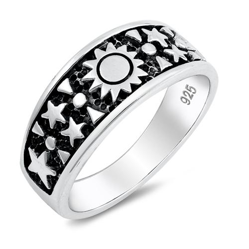 Oxidized Design Sun Star Ring Band 925 Sterling Silver Choose Color
