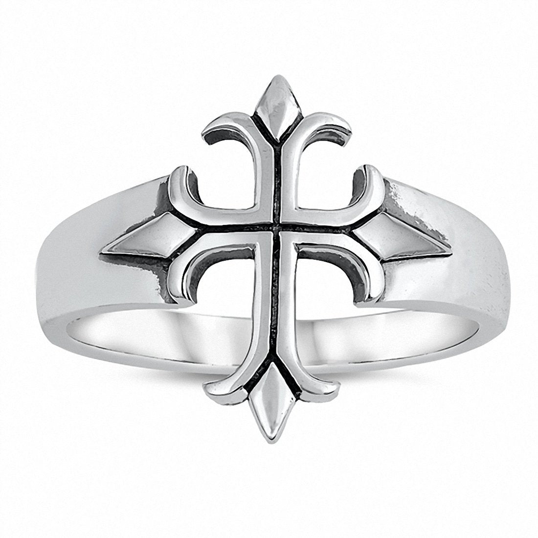 Biker Design Cross Ring Band 925 Sterling Silver Choose Color