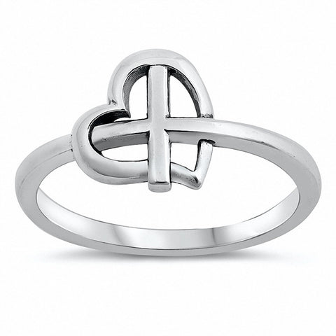Heart Cross Ring Band 925 Sterling Silver Choose Color