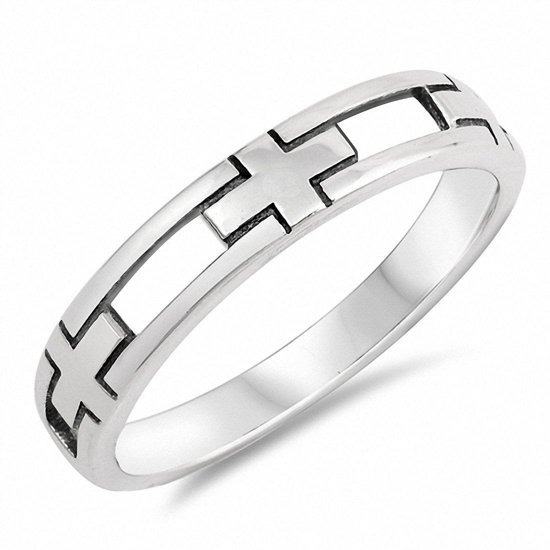Half Cross Band Ring 925 Sterling Silver Choose Color