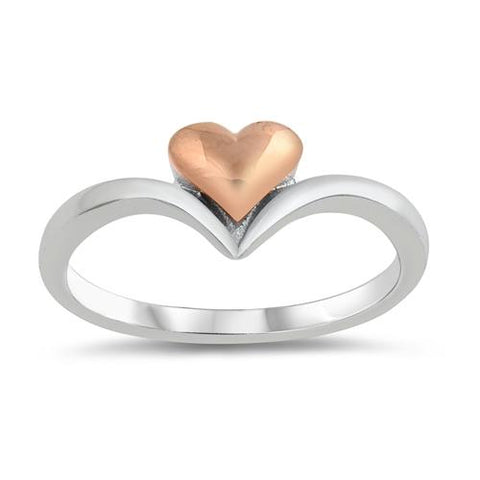 Two Tone Chevron Midi Heart Ring Band 925 Sterling Silver Choose Color