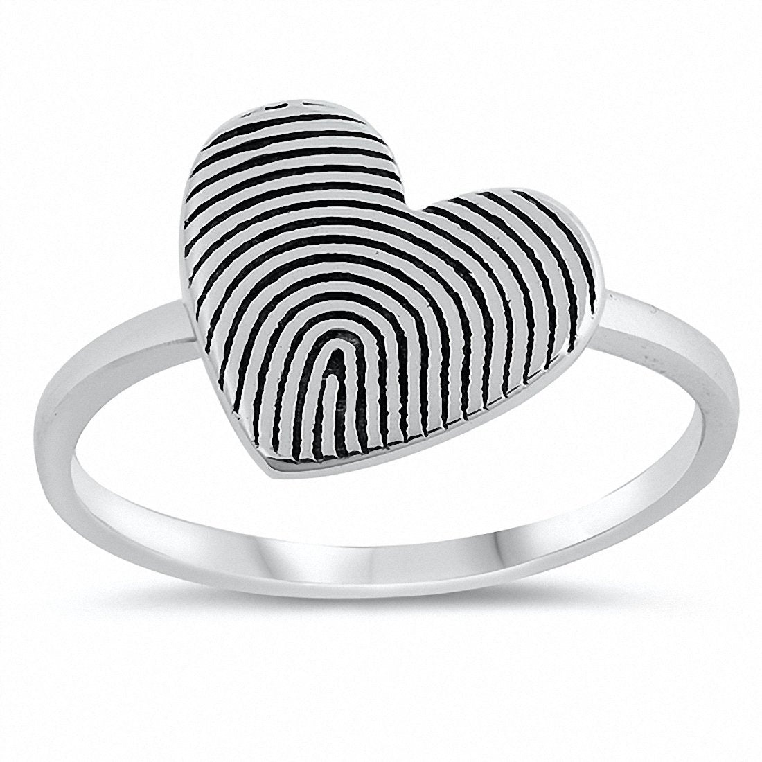 Oxidized Heart Ring Band 925 Sterling Silver Choose Color