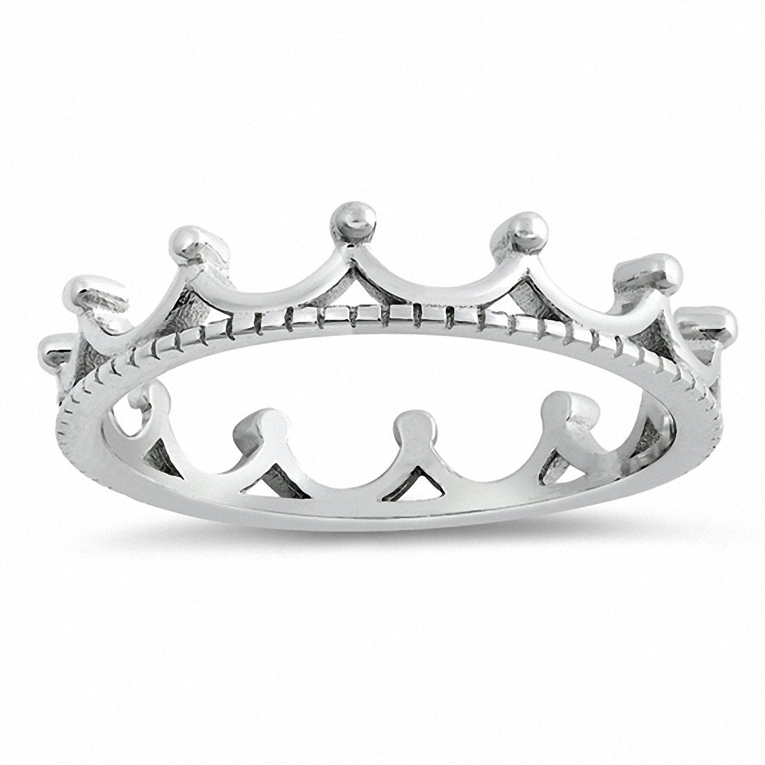 Crown Band Ring 925 Sterling Silver Choose Color