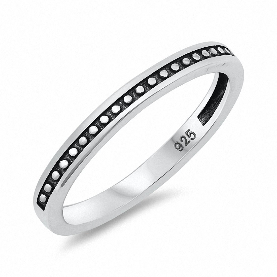 2mm Band Solid Oxidized Bali Design 925 Sterling Silver Choose Color