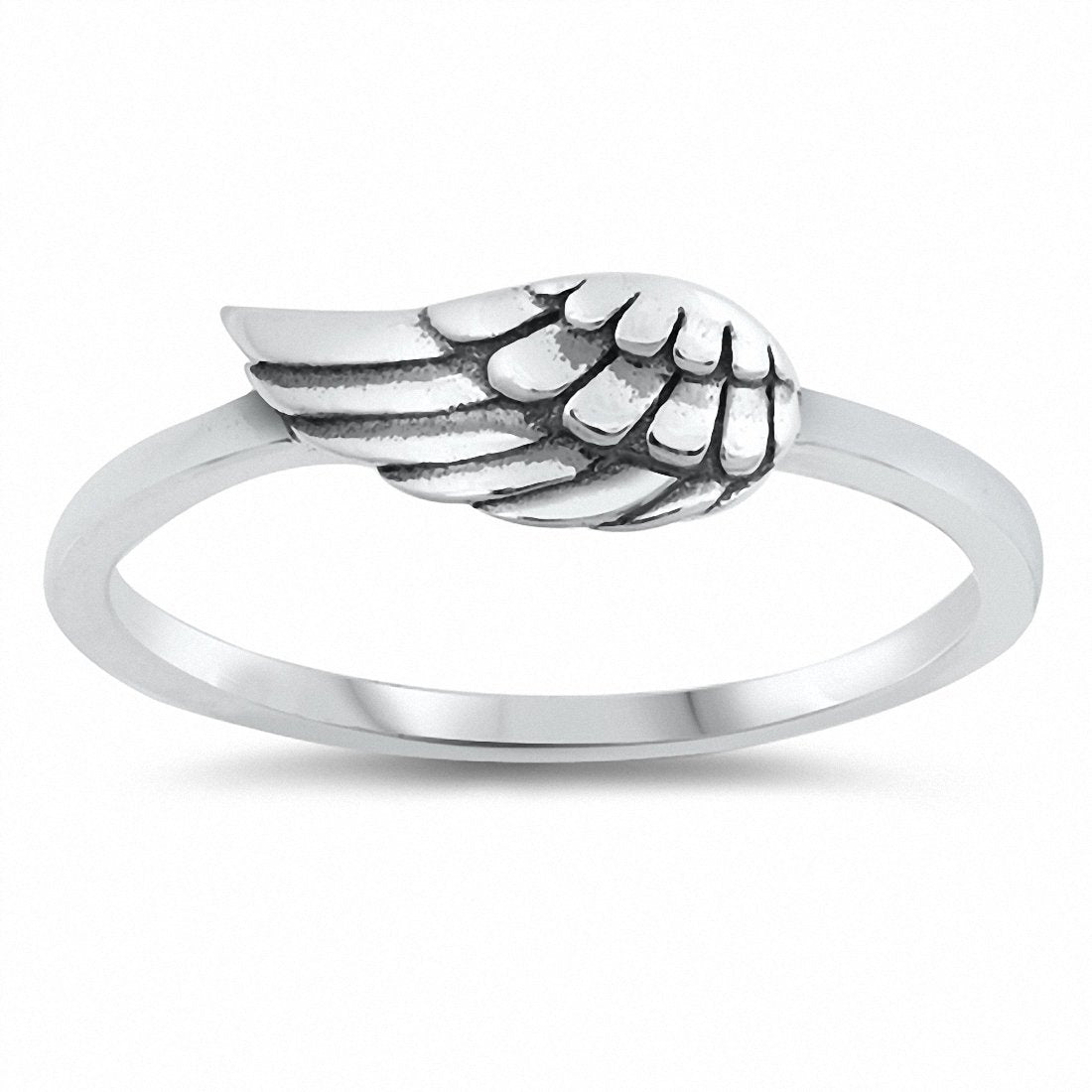 Wing Band Ring 925 Sterling Silver Choose Color
