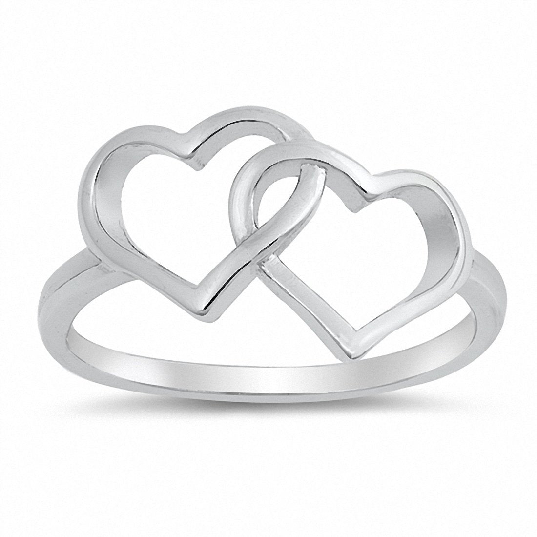 5df5f35f1 Interlocking Double Heart Ring Band 925 Sterling Silver Choose Color ...