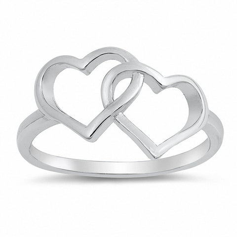 Interlocking Double Heart Ring Band 925 Sterling Silver Choose Color