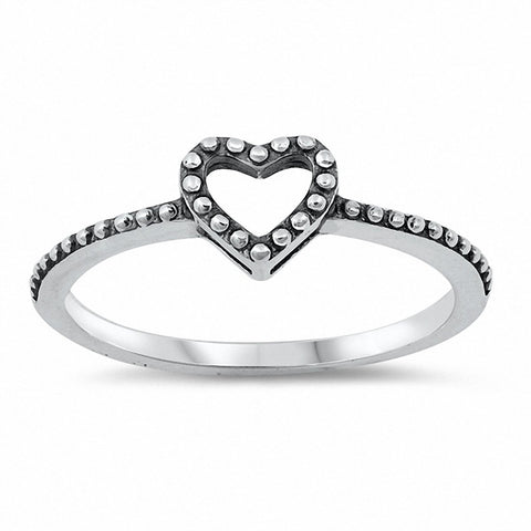 Bali Heart Promise Ring Band Solid 925 Sterling Silver Choose Color