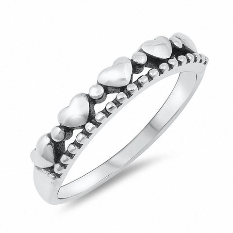 Sideways Heart Ring Band 925 Sterling Silver Choose Color