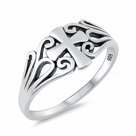 Filigree Cross Ring 925 Sterling Silver Choose Color