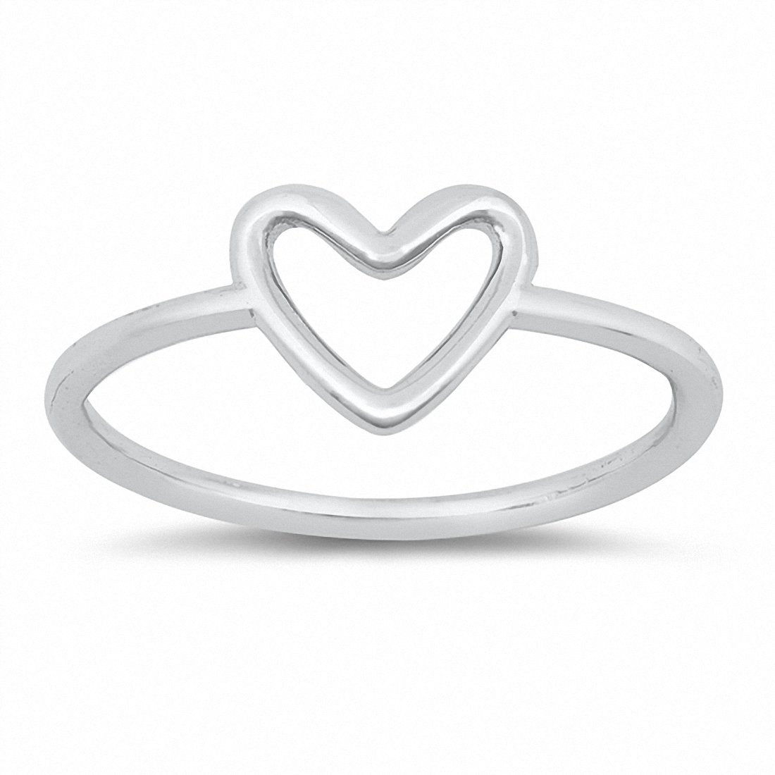 Open Heart Ring Band Solid Promise Ring 925 Sterling Silver Choose Color