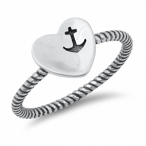 Heart Ring Oxidized Design Anchor Solid 925 Sterling Silver Choose Color