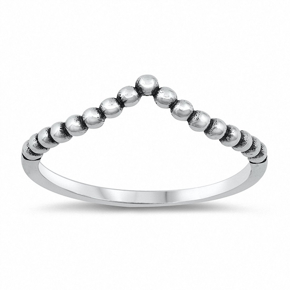 Ball Bead Chevron Midi Thumb Ring Band Solid 925 Sterling Silver Choose Color
