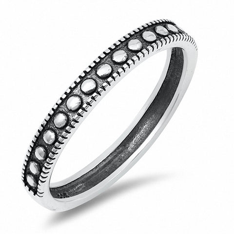 3mm Bali Band Ring Oxidized Design Solid 925 Sterling Silver Choose Color