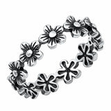 5mm Flowers Band Ring Oxidized Design Solid 925 Sterling Silver Choose Color