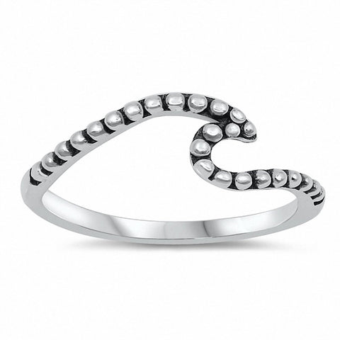 Bali Wave Band Ring Solid 925 Sterling Silver Choose Color
