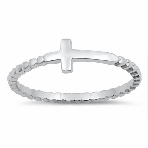 Sideways Cross Ring Petite Dainty Little Cross Band 925 Sterling Silver Choose Color