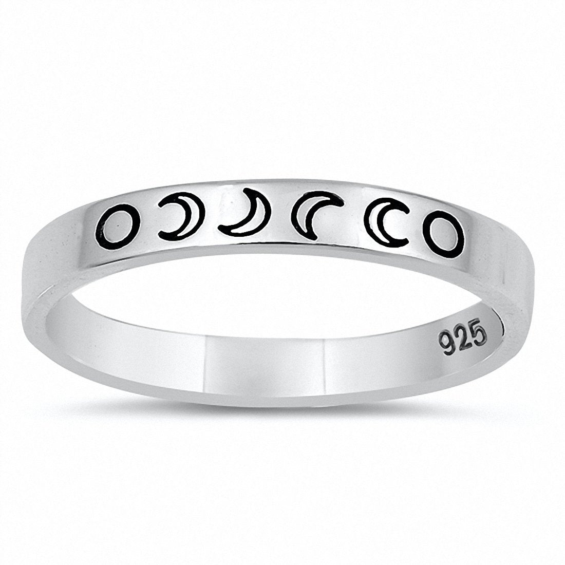 Moon Phases Crescent Band Ring 925 Sterling Silver Choose Color