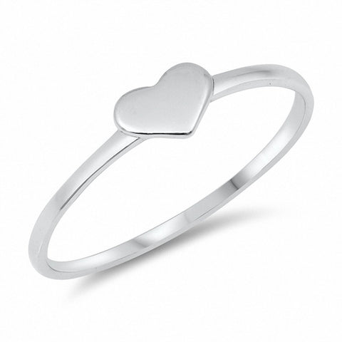 Plain Heart Ring Band Solid 925 Sterling Silver Choose Color