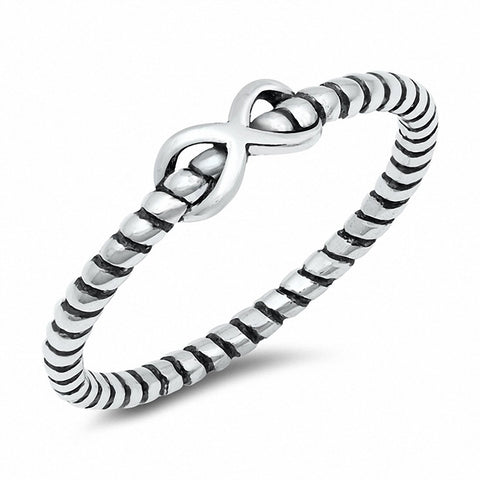 Braided Twisted Design Plain Infinity Ring Oxidized Solid 925 Sterling Silver Choose Color