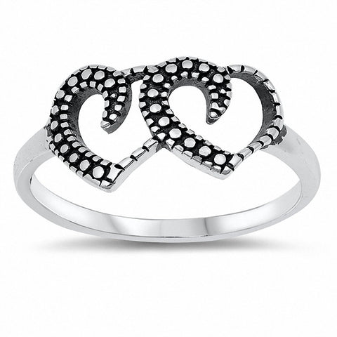 Double Heart Ring Band Oxidized Solid 925 Sterling Silver Choose Color