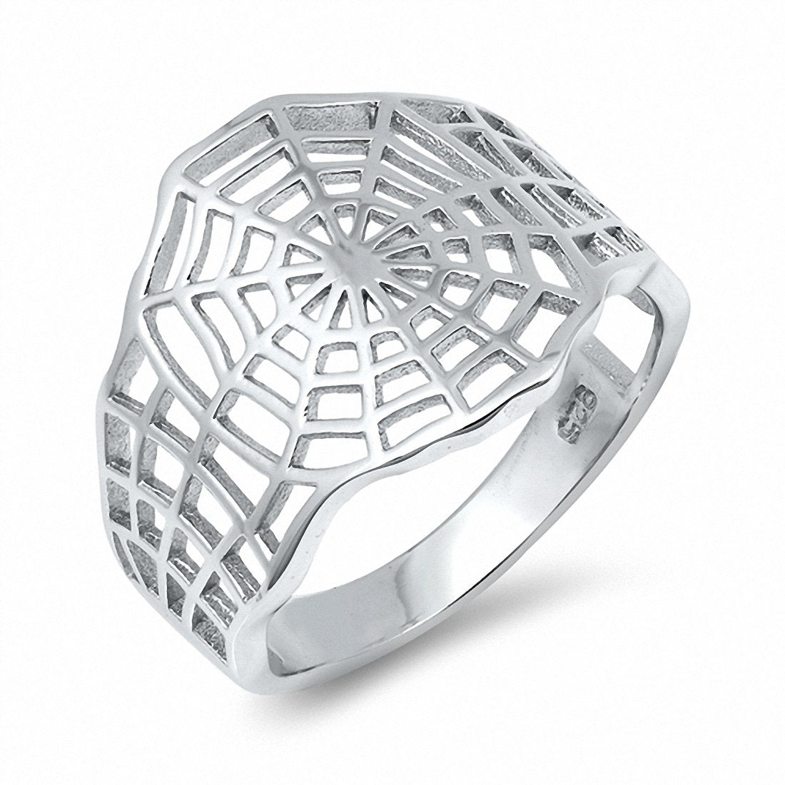 Spider Web Band Ring Solid Plain 925 Sterling Silver Choose Color