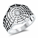 Spider Web Ring Band Oxidized Solid 925 Sterling Silver Choose Color