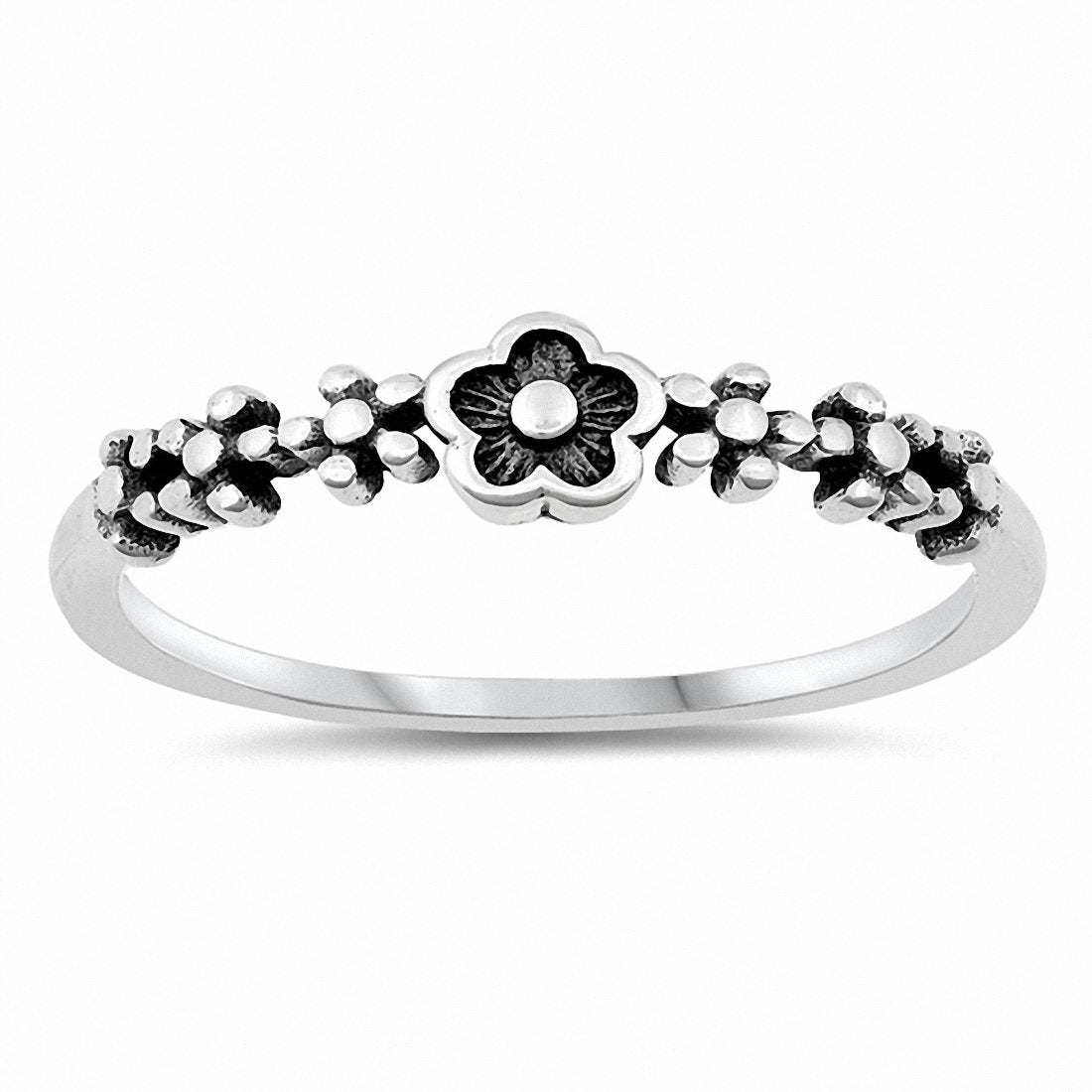 Flower Band Ring Oxidized Solid 925 Sterling Silver Choose Color
