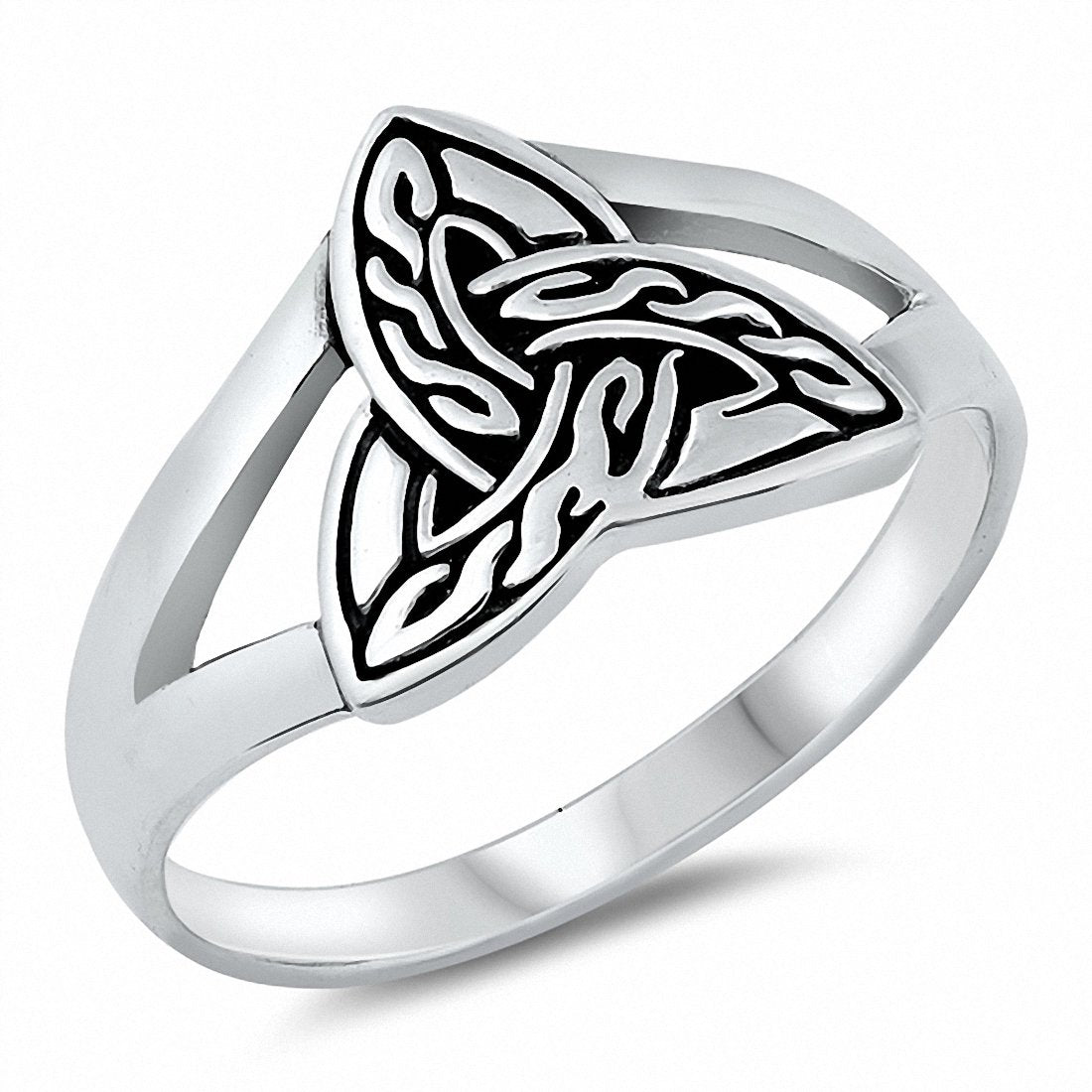 Celtic Band Ring Solid Split Shank 925 Sterling Silver Choose Color