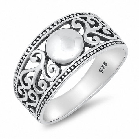 Bali Filigree Ring Band Solid 925 Sterling Silver Choose Color
