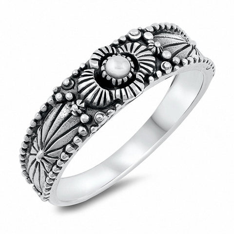 Bali Flower Band Ring Oxidized Solid 925 Sterling Silver Choose Color