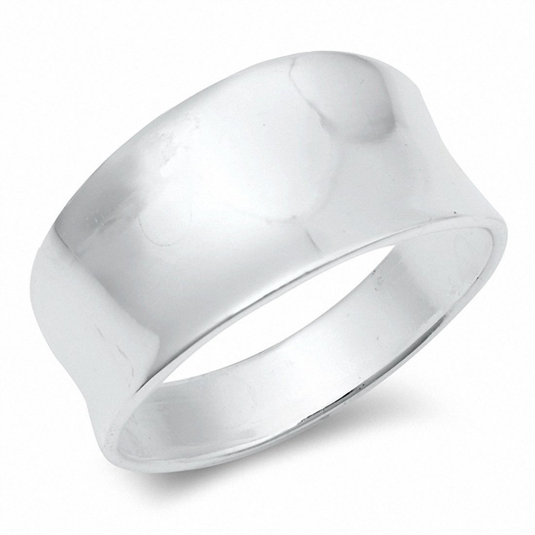Concave Design Band Ring 10mm Solid 925 Sterling Silver Choose Color