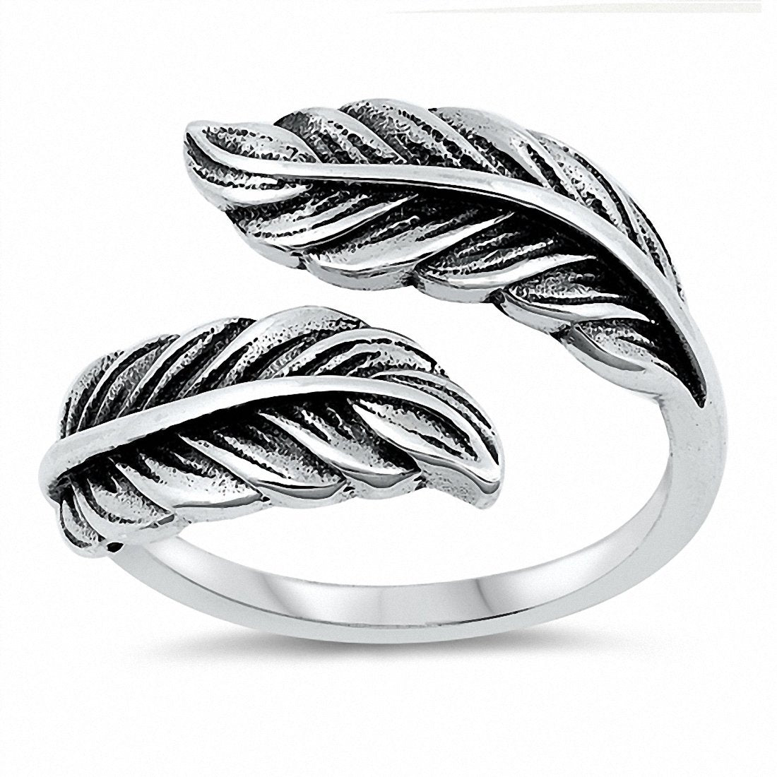 Feather Ring Band Solid 925 Sterling Silver Choose Color