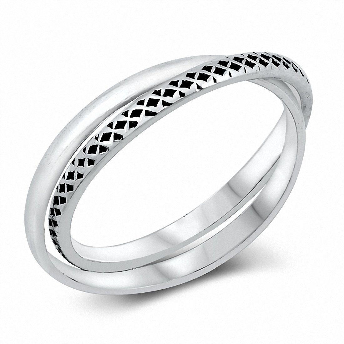 Interlocking Band Ring 2 Bands Solid 925 Sterling Silver Choose Color