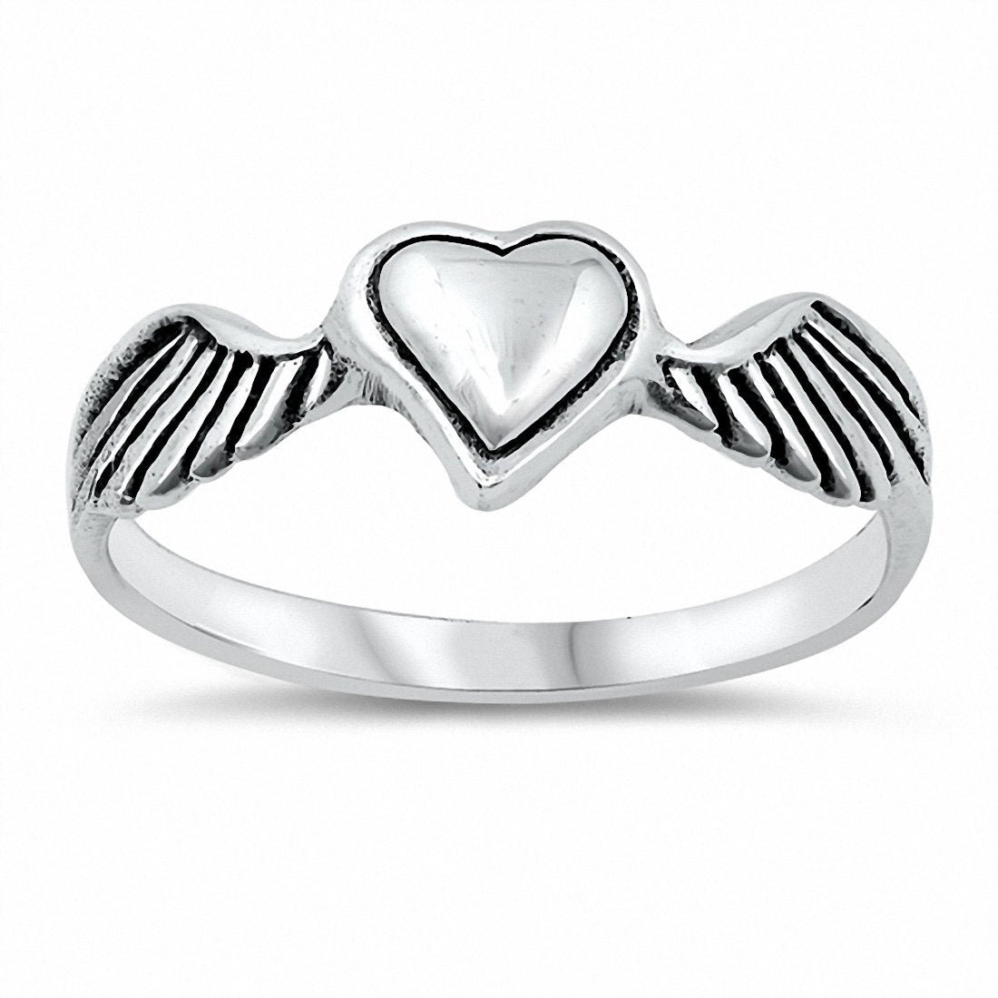 Heart Wings Band Ring Solid 925 Sterlig Silver Choose Color