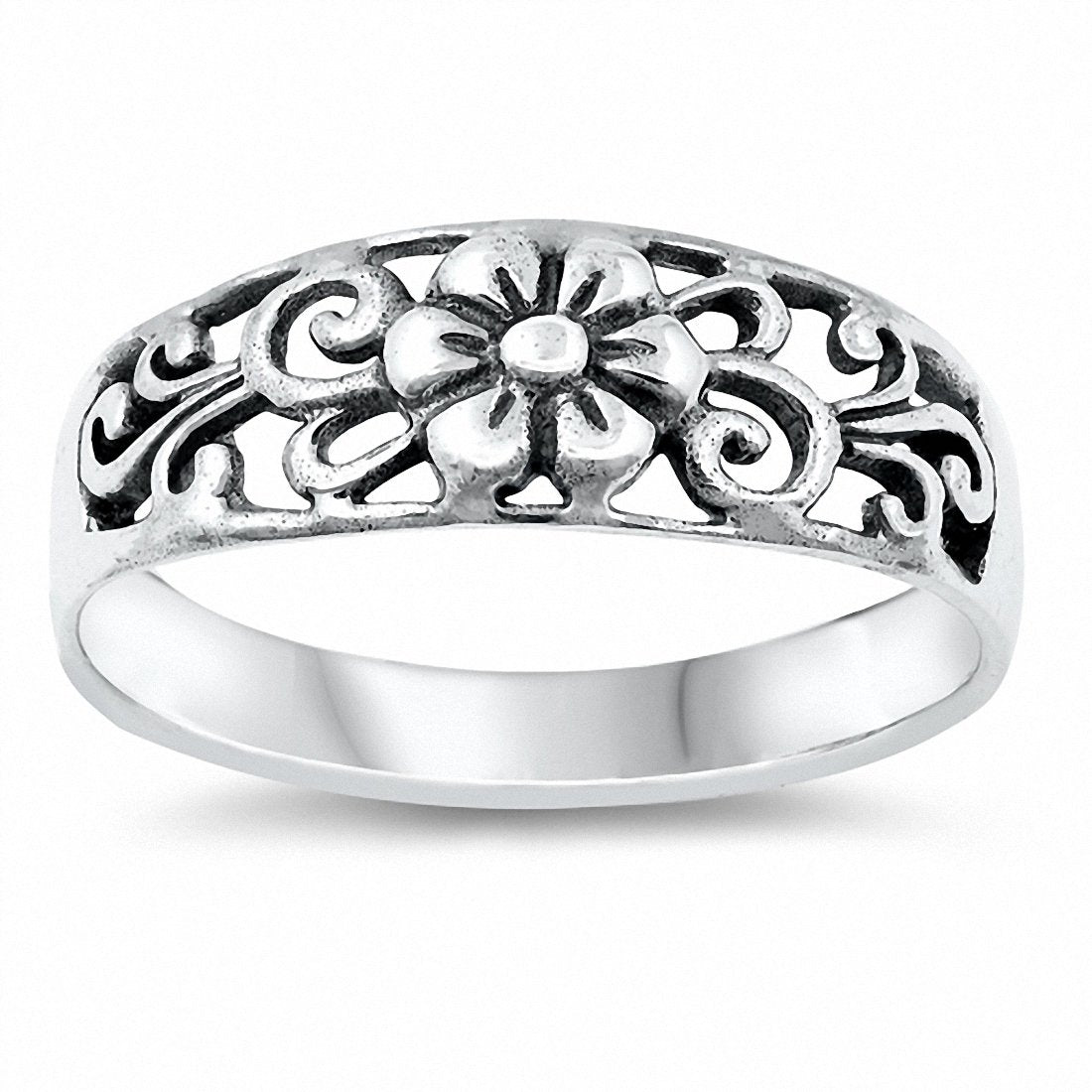 Filigree Flower Band Ring Solid 925 Sterling Silver Choose Color